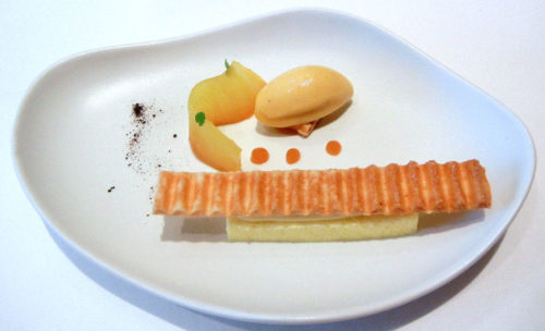 pineapple confit, grilled millefeuille, 'grand cru' madagascar vanilla cream licorice, lime & yoghurt mousse, exotic fruit sorbet