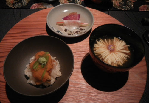 "Sea urchin Rice. National Flower of Japan ""Chrysanthemum"" Soup"