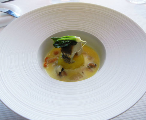 Abalone slice and poached in shellfish broth-Saffron braised turnips