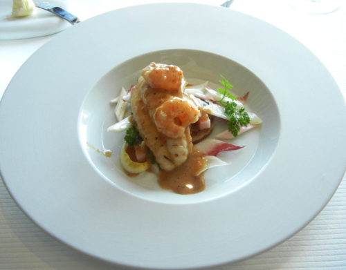 Brittany sole roasted in Sarawak pepper, small shrimp Shimaebi seared with Cognac Galette of Satoimo endive leaf.