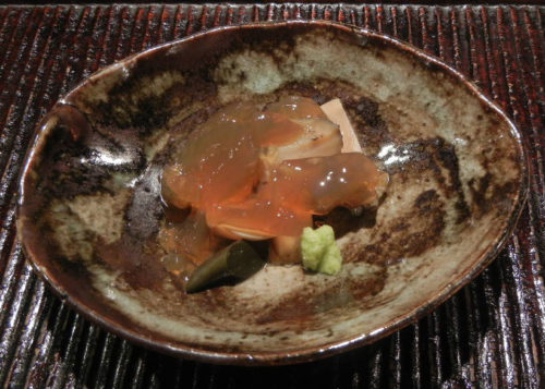 Sashimi- Sea Bream and Fresh Sea Urchin, Garnished with Fresh Seaweed and Japanese Herbs, Steamed Abalone with Stock Jelly