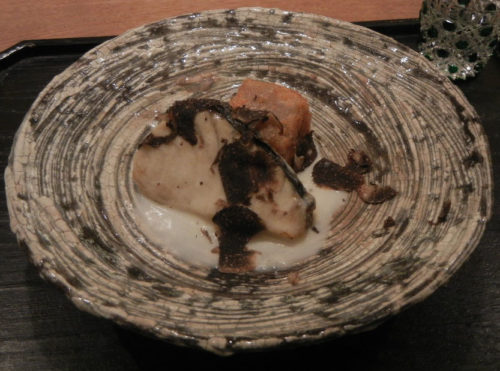 Charcoaled-grilled Spanish mackerel and Knead Lotus Root, Scattered Sliced Truffle.