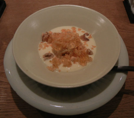 Caramel Ice Cream, Rum Mousse and Jelly with Fried Tofu Skin