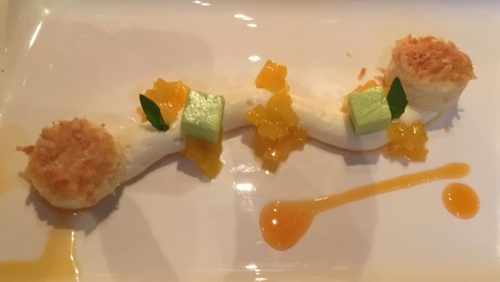 White Chocolate Coconut Mousse Mango passion fruit, pandan jelly, coconut coated chiffon