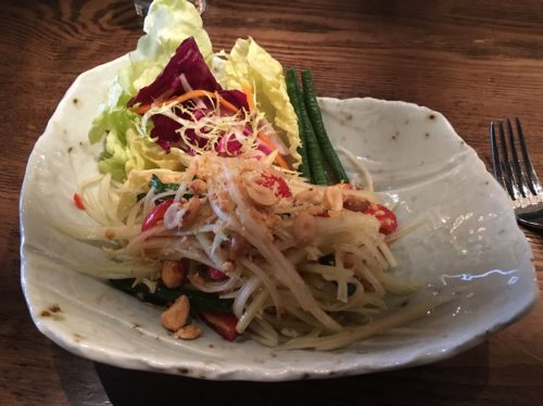 SOM TUM-Green papaya salad, dried shrimp, peanuts, bird-eye chili vinaigrette
